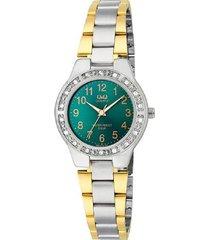 reloj q&q  q691j415y análogo bicolor para mujer