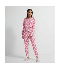 pijama longo em moletinho com estampa poá | lov | rosa | m