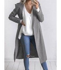 auxo abrigo de manga larga con cuello de solapa gris