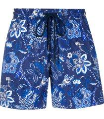 etro floral paisley swim shorts - blue