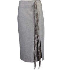 wool flannel fringe slit skirt