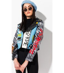 akira azalea wang band of misfits blue tiger moto jacket