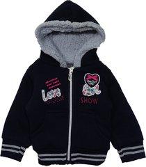 jaqueta casaco manabana grosso moletom com forro pelúcia infantil azul marinho