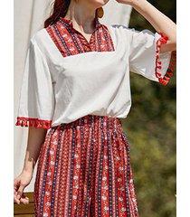 etnico modello camicetta vintage da donna con maniche in nappa patchwork