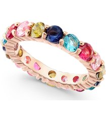 charter club 18k rose gold plate multicolor crystal ring, created for macy's