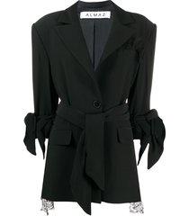 almaz lace inserts oversized blazer - black