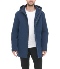 dkny men's all man micro fiber hooded trench jacket