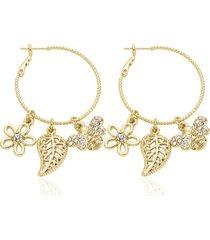 orecchini a cerchio in metallo dorato e strass con simboli fiore, foglia e ape per donna
