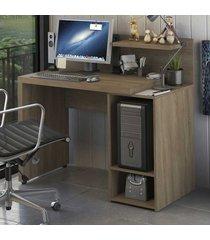 mesa para computador home urban 2 prateleiras s973 nogal - kappesberg