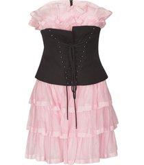 philosophy di lorenzo serafini lace-up front layered short dress