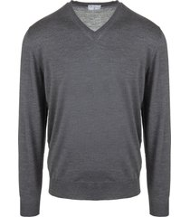 asphalt grey v-neck man pullover