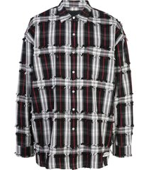 mostly heard rarely seen drop shoulder plaid shirt - black
