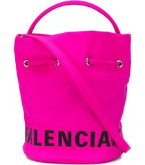balenciaga wheel xs drawstring bucket bag - pink
