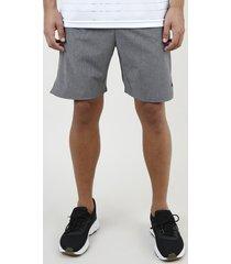 bermuda masculina esportiva ace com bolso cinza mescla