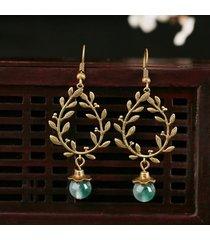 orecchini di rami di vimini etnici di goccia di quarzo di giada lunga collana di stile per le donne