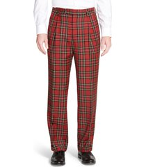 men's berle touch finish pleated classic fit plaid wool trousers, size 36 x unhemmed - red