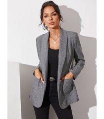 yoins bolsillo gris diseño blazer de manga larga con cuello solapa
