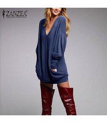 zanzea para mujer del algodón flojo con cuello en v vestido de suéter tops casual blusa de la camiseta de manga larga -azul