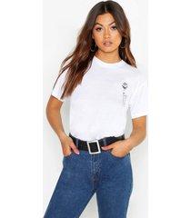 rozenprint t-shirt met borstodpruk, wit