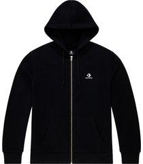 converse sudadera con capucha con cremallera completa y logotipo star chevron bordado black
