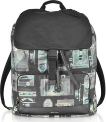 paul smith designer men's bags, camouflage paul's camera print flap men's backpack