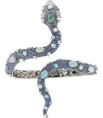 blue sapphire and opal snake bracelet