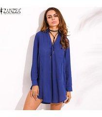 zanzea mujeres de la manera vestido camisa floja ocasional de opacidad largo de la gasa de la manga de la solapa del tamaño extra grande (azul) -azul