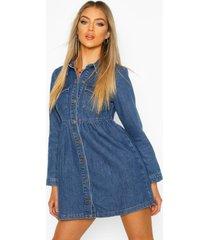 long sleeve denim smock dress, mid blue