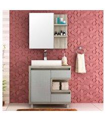 conjunto para banheiro malbec bosi gabinete + cuba e espelheira barrique/argento