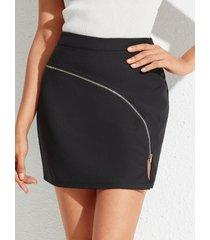 falda de cintura alta con diseño de hendidura negra yoins