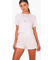 petite basic cropped t-shirt, white