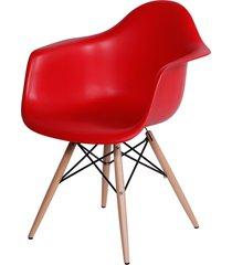 cadeira dkr com braços e base de madeira lena - vermelha