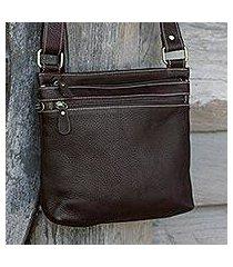 leather shoulder bag, 'ready espresso' (thailand)