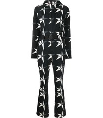 perfect moment star print hooded jumpsuit - black