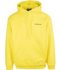 balenciaga man yellow medium fit logo hoodie