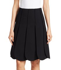 scallop pleated a-line skirt