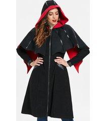 halloween duster zipper coat with cape