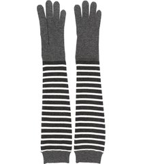 brunello cucinelli long-line striped gloves - grey
