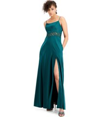city studios juniors' embellished-waist stretch satin gown
