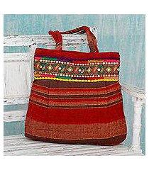 cotton shoulder bag, 'paisley path' (india)
