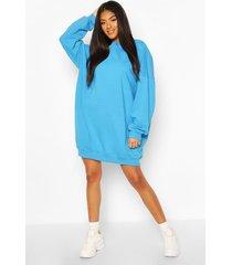 tonal stitch pannelled sweatshirt dress, turquoise