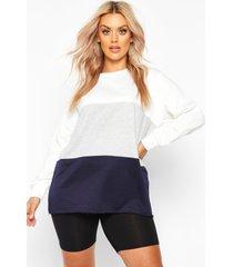 plus colour block sweater, navy