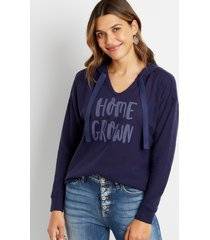 maurices womens navy homegrown waffle knit hoodie blue