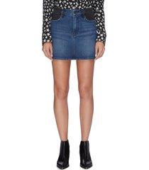 colourblock denim mini skirt