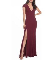 women's dress the population karla v-neck trumpet gown, size x-small - burgundy