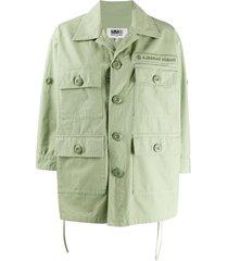 mm6 maison margiela multi pocket shirt jacket - green