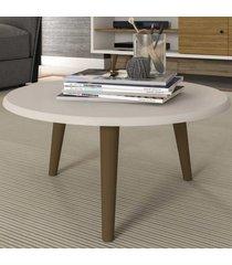 mesa de centro redonda brilhante 2075260 off white - bechara móveis