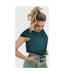 blusa manga curta camadas verde