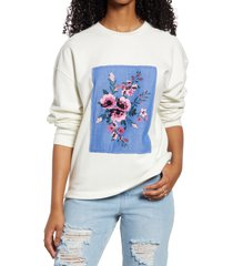 women's bp. oversize crewneck sweatshirt, size small - ivory