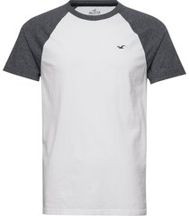 crew raglan&blocking t-shirts short-sleeved vit hollister